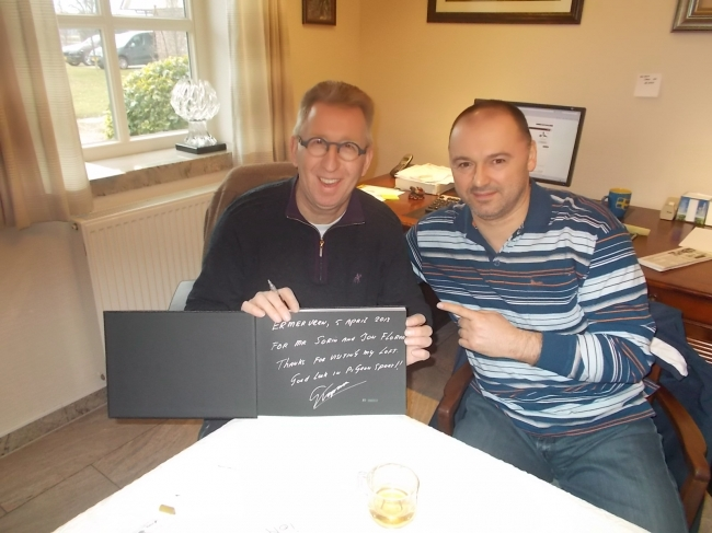 """Together with Gerard Koopman and the beautiful catalogue received as a present from Gerard, with a special dedication- """"for Mr. Sorin and Nea Ion """"Mazare""""""""."""